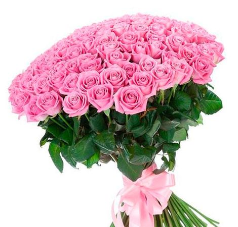 101 розовая роза 60 см. Superflowers.com.ua