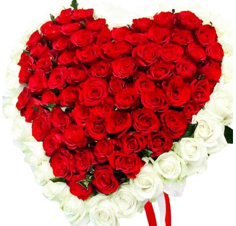 Букет Сердце из 101 розы. Superflowers.com.ua
