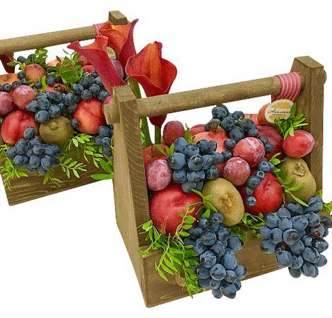 """Подарункова дерев'яна коробка з фруктами """"Виноград"""". superflowers.com.ua. Замовте подарункову коробку з дерева з ручкою і фруктами"""
