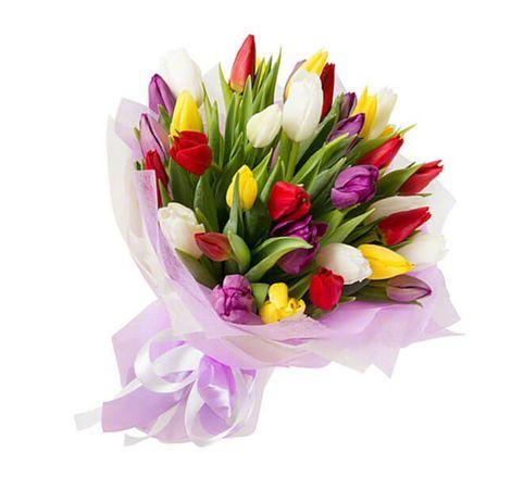 """35 тюльпанов микс """"Поцелуй"""". Superflowers.com.ua"""