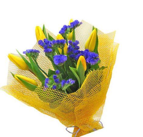 "Букет 7 желтых тюльпанов ""Офелия"". Superflowers.com.ua"